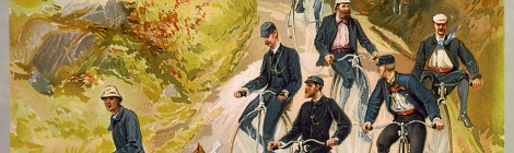 People enjoying a ramble on big wheel bicycles
