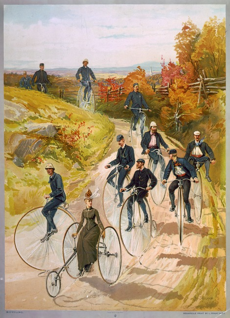 People enjoying a Ramble on big wheel bicycles
