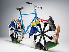 Bike with wheels made of running shoes