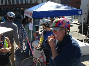Our mayor, Lou Rosamilia, shows his pleasure at the fine handcrafted helmet decorated by Sheila