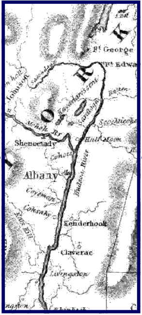 Early map showing the Capital Region of New York State